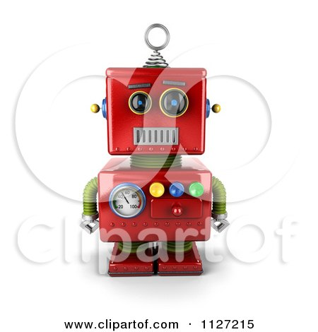 Clipart Of A 3d Neutral Faced Red Robot - Royalty Free CGI Illustration by stockillustrations