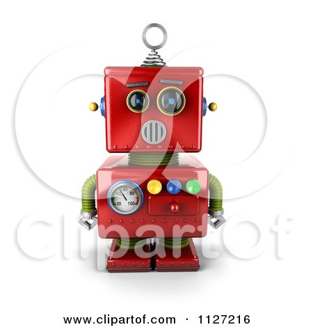 Clipart Of A 3d Surprised Red Metal Robot - Royalty Free CGI Illustration by stockillustrations