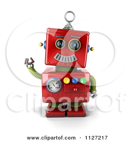 Clipart Of A 3d Waving Red Metal Robot - Royalty Free CGI Illustration by stockillustrations