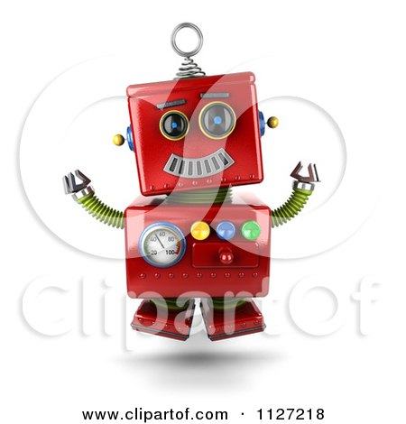 Clipart Of A 3d Excited Happy Jumping Red Metal Robot - Royalty Free CGI Illustration by stockillustrations