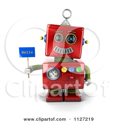 Clipart Of A 3d Red Metal Robot Holding A Hello Sign - Royalty Free CGI Illustration by stockillustrations