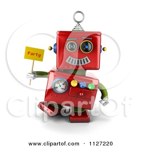 Clipart Of A 3d Red Metal Robot Holding A Party Sign - Royalty Free CGI Illustration by stockillustrations