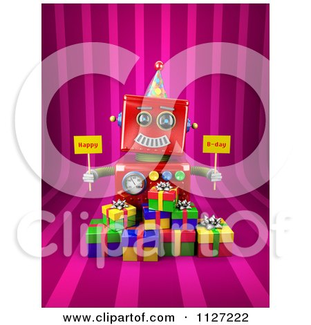 Clipart Of A 3d Red Robot Holding Happy Bday Signs Over Gift Boxes On Pink Stripes - Royalty Free CGI Illustration by stockillustrations