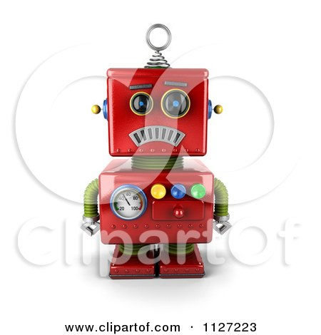 Clipart Of A 3d Sad Red Metal Robot - Royalty Free CGI Illustration by stockillustrations