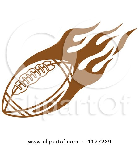 Clipart Of A Brown American Football With Tribal Flames 4
