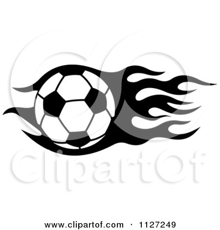 Clipart Of A Black And White Soccer Ball With Tribal Flames 7 - Royalty Free Vector Illustration by Vector Tradition SM