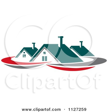 Clipart Of Houses With Roof Tops 3 - Royalty Free Vector Illustration by Vector Tradition SM