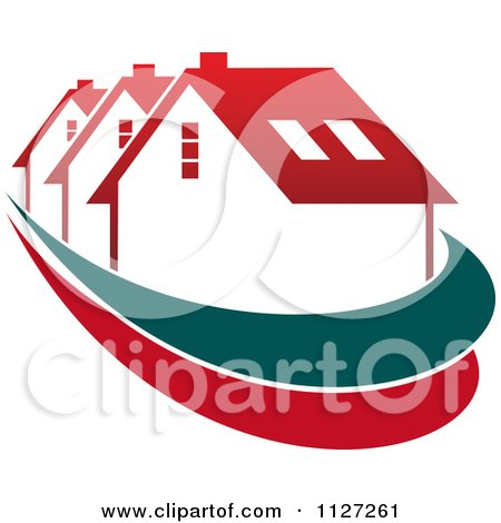 Clipart Of Houses With Roof Tops 2 - Royalty Free Vector Illustration by Vector Tradition SM
