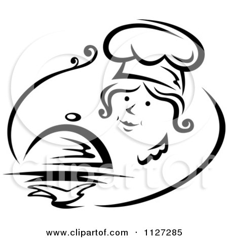 Clipart Of A Black And White Pleasant Female Chef Serving A Cloche Platter - Royalty Free Vector Illustration by Vector Tradition SM