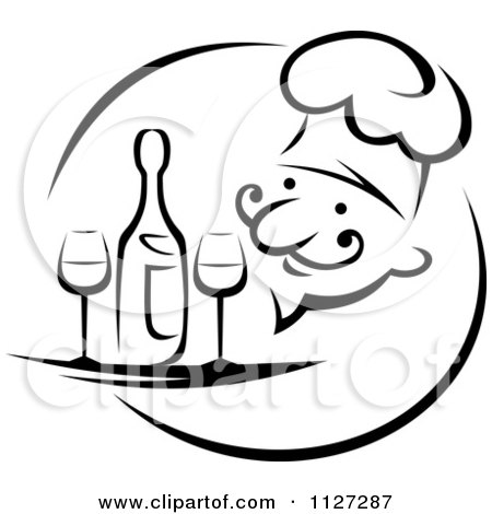 Clipart Of A Black And White Happy Male Chef Serving Wine Or Champagne - Royalty Free Vector Illustration by Vector Tradition SM