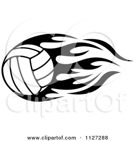 Clipart Of A Black And White Volleyball With Tribal Flames 3 - Royalty Free Vector Illustration by Vector Tradition SM