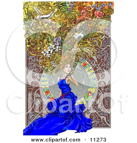 Beautiful Woman Kneeling in a Blue Dress, With Scenes and Things in Her Big Hair, Alfons Maria Mucha Inspired Clipart Picture by AtStockIllustration