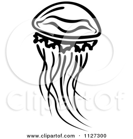 Clipart Of A Black And White Jellyfish 2 - Royalty Free Vector Illustration by Vector Tradition SM