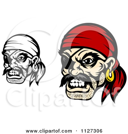 Clipart Of Angry Pirate Faces With Eye Patches And Bandanas - Royalty Free Vector Illustration by Vector Tradition SM