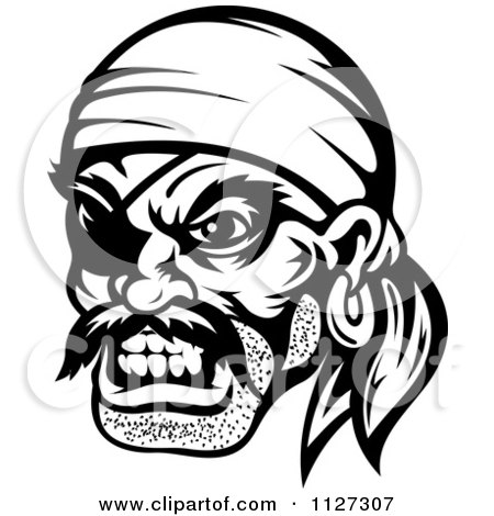 Clipart Of An Angry Black And White Pirate Face With An Eye Patch ...
