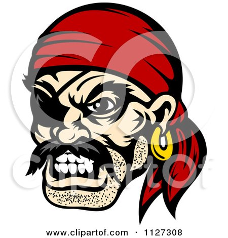 Clipart Of An Angry Pirate Face With An Eye Patch And Bandana - Royalty Free Vector Illustration by Vector Tradition SM