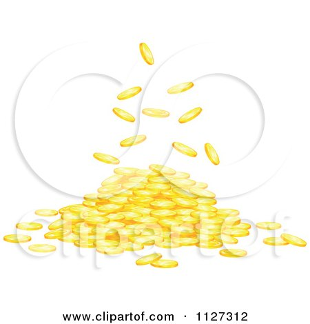 Clipart Of Gold Coins Falling Into A Pile - Royalty Free Vector Illustration by Vector Tradition SM
