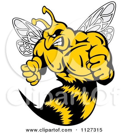 Clipart Of A Buff Angry Wasp - Royalty Free Vector Illustration by Vector Tradition SM