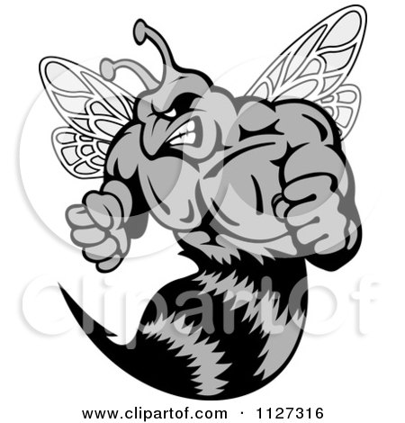 Clipart Of A Grayscale Buff Angry Wasp - Royalty Free Vector Illustration by Vector Tradition SM