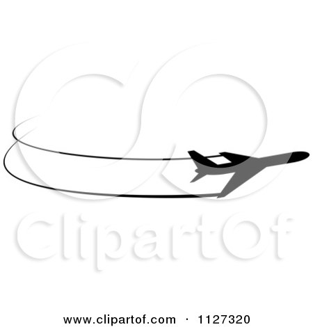 Clipart Of A Black Silhouetted Airplane And Trails 8 - Royalty Free Vector Illustration by Vector Tradition SM