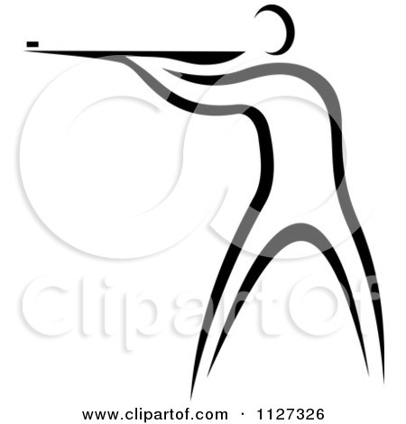 Clipart Of A Black And White Shooter - Royalty Free Vector Illustration by Vector Tradition SM