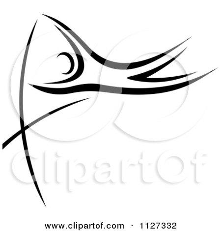 Clipart Of A Black And White Pole Vaulter - Royalty Free Vector Illustration by Vector Tradition SM
