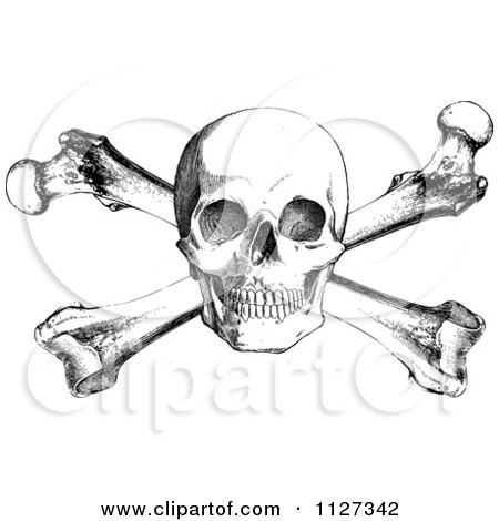 Clipart Of A Retro Black And White Skull And Cross Bones - Royalty Free Vector Illustration by BestVector