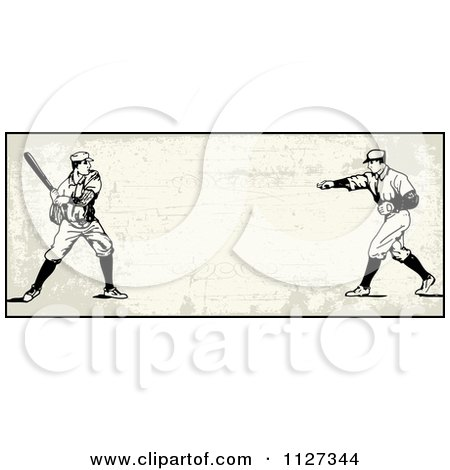 Clipart Of A Retro Baseball Batter And Pitcher Banner Over Tan With Copyspace - Royalty Free Vector Illustration by BestVector