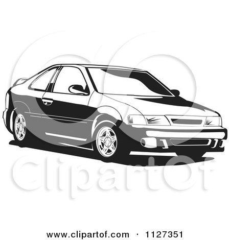 Clipart Of A Black And White Nissan Lucino Car - Royalty Free Vector Illustration by David Rey