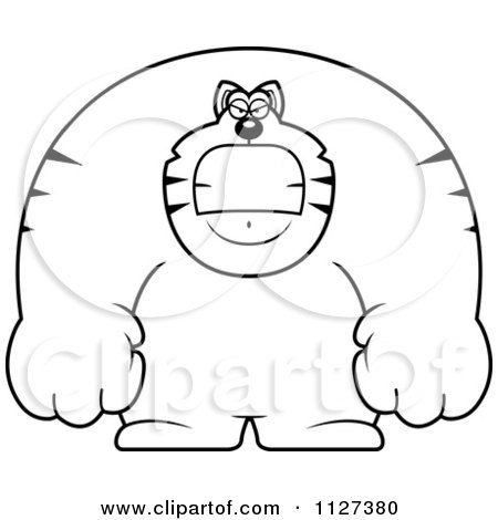Cartoon Of An Outlined Angry Buff Cat - Royalty Free Vector Clipart by Cory Thoman