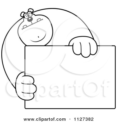 Cartoon Of An Outlined Buff Bear Holding A Sign 1 - Royalty Free Vector Clipart by Cory Thoman