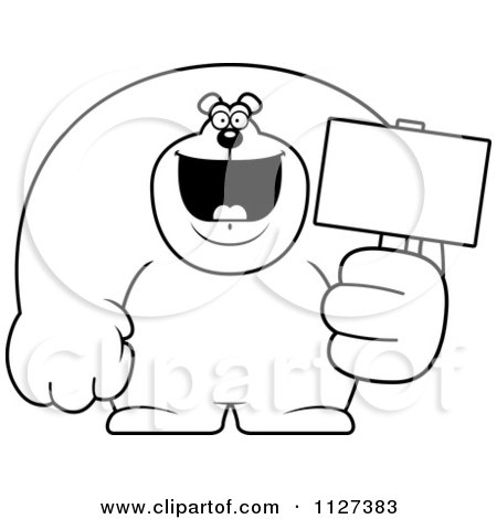 Cartoon Of An Outlined Buff Bear Holding A Sign 2 - Royalty Free Vector Clipart by Cory Thoman