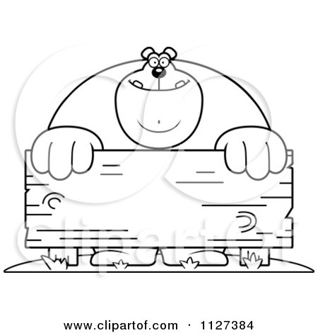 Cartoon Of An Outlined Buff Bear Behind A Wooden Sign - Royalty Free Vector Clipart by Cory Thoman