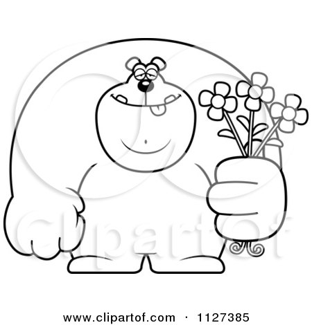 Cartoon Of An Outlined Buff Bear Holding Flowers - Royalty Free Vector Clipart by Cory Thoman