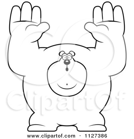 Cartoon Of An Outlined Buff Bear Holding His Hands Up - Royalty Free Vector Clipart by Cory Thoman