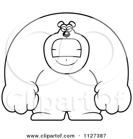 Cartoon Of An Outlined Angry Buff Bear - Royalty Free Vector Clipart by Cory Thoman