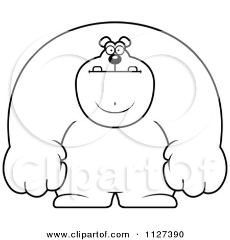 Cartoon Of An Outlined Buff Bear - Royalty Free Vector Clipart by Cory Thoman