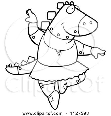 Cartoon Of An Outlined Robot Spinosaurus Dinosaur Ballerina Dancing - Royalty Free Vector Clipart by Cory Thoman
