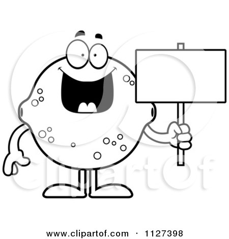 Cartoon Of An Outlined Lemon Or Lime Mascot Holding A Sign - Royalty Free Vector Clipart by Cory Thoman