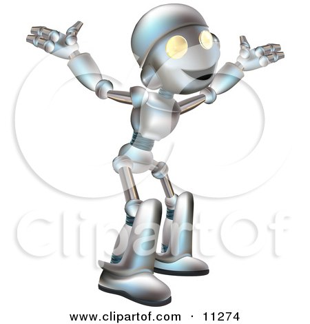 Friendly Futuristic Robot With His Arms Out Clipart Illustration