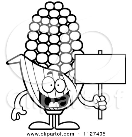 Cartoon Of An Outlined Corn Mascot Holding A Sign - Royalty Free Vector Clipart by Cory Thoman