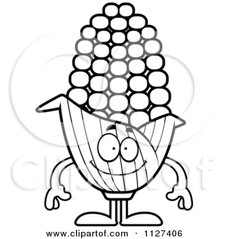 Cartoon Of An Outlined Happy Corn Mascot - Royalty Free Vector Clipart by Cory Thoman