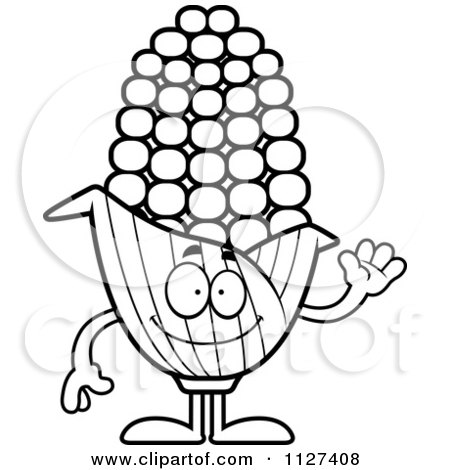 Cartoon Of An Outlined Waving Corn Mascot - Royalty Free Vector Clipart by Cory Thoman