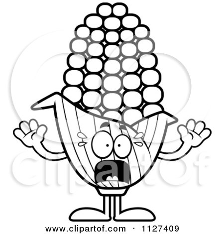 Cartoon Of An Outlined Scared Corn Mascot - Royalty Free Vector Clipart by Cory Thoman