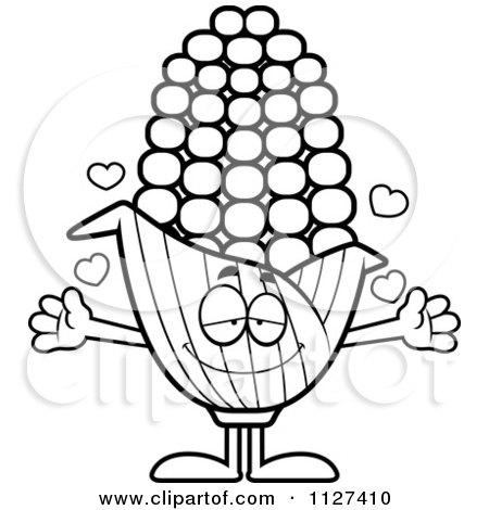 Cartoon Of An Outlined Loving Corn Mascot With Open Arms - Royalty Free Vector Clipart by Cory Thoman