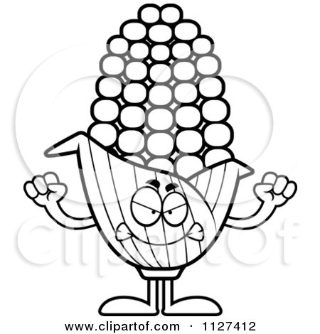 Cartoon Of An Outlined Angry Corn Mascot - Royalty Free Vector Clipart by Cory Thoman