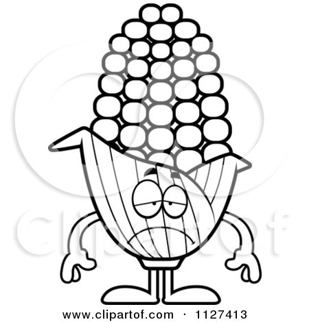 Cartoon Of An Outlined Depressed Corn Mascot - Royalty Free Vector Clipart by Cory Thoman