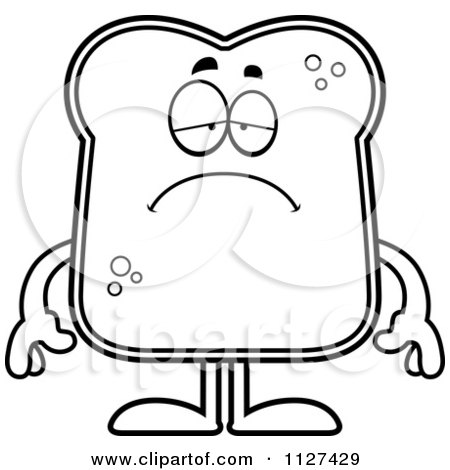 Cartoon Of An Outlined Depressed Bread Character - Royalty Free Vector Clipart by Cory Thoman