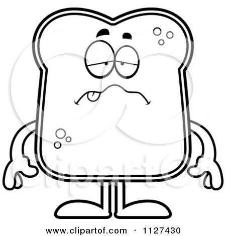 Cartoon Of An Outlined Sick Bread Character - Royalty Free Vector Clipart by Cory Thoman