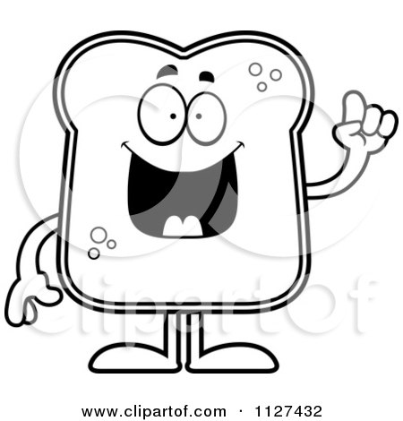 Cartoon Of An Outlined Bread Character With An Idea - Royalty Free Vector Clipart by Cory Thoman